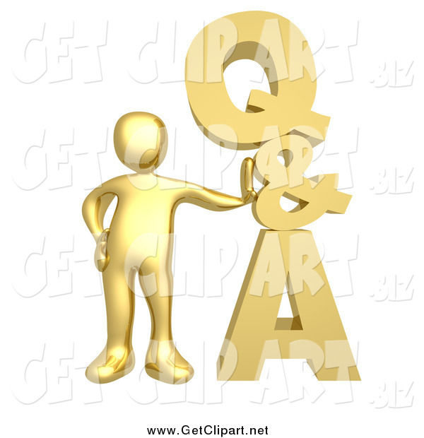 Clip Art of a 3d Gold Guy Leaning Against a Stacked Questions and Answers Icon