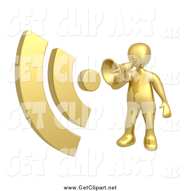 Clip Art of a 3d Gold Man Announcing with a Megaphone