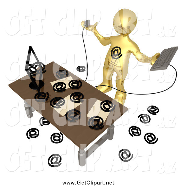 Clip Art of a 3d Gold Man Being Attacked by Spam Email at a Desk