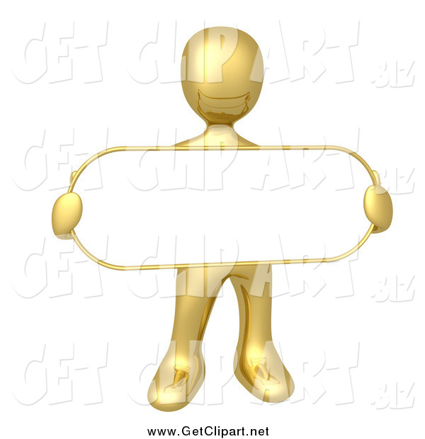 Clip Art of a 3d Gold Man Holding an Oval Blan Sign