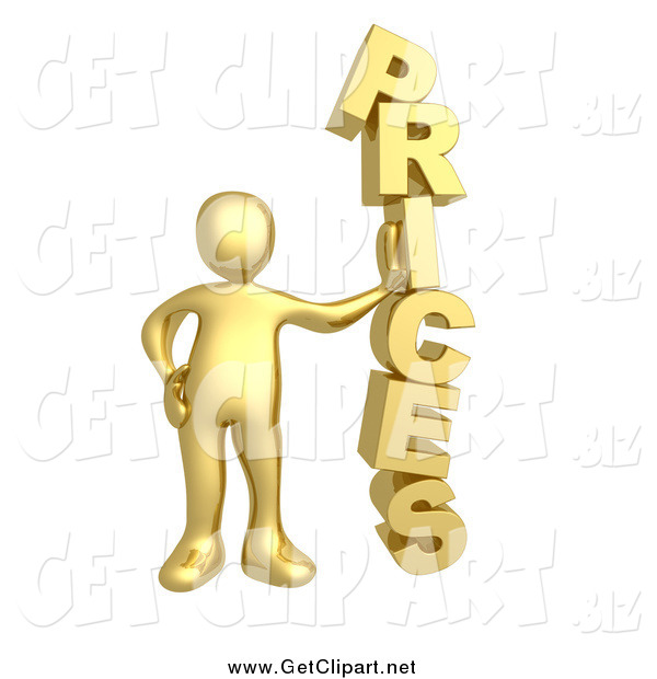 Clip Art of a 3d Gold Man Leaning Against the Word PRICES