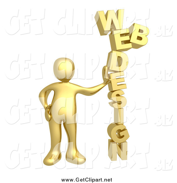 Clip Art of a 3d Gold Man Leaning Against the Words WEB DESIGN