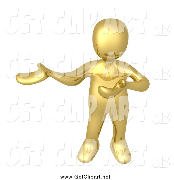 Clip Art of a 3d Gold Man Presenting to the Left
