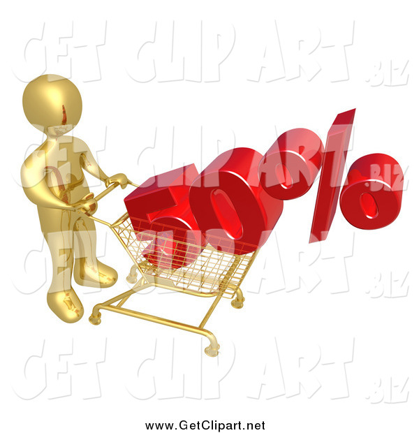 Clip Art of a 3d Gold Man Pushing a 50 Percent Discount in a Shopping Cart