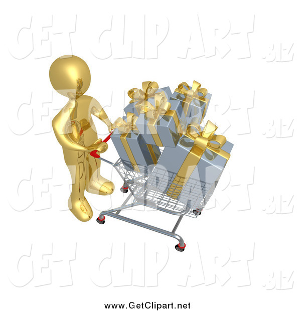 Clip Art of a 3d Gold Man Pushing a Shopping Cart Full of Gifts