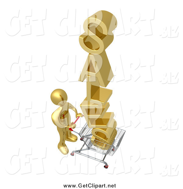Clip Art of a 3d Gold Man Pushing SALES in a Cart