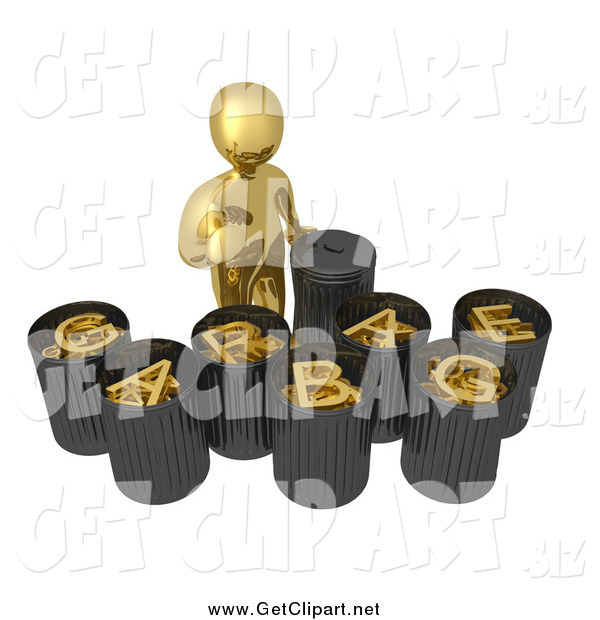 Clip Art of a 3d Gold Man Sorting Garbage