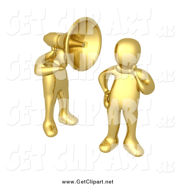Clip Art of a 3d Gold Man with a Headphone Head, Shouting in a Person's Ear