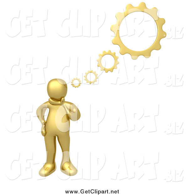Clip Art of a 3d Gold Man with Gear Thoughts