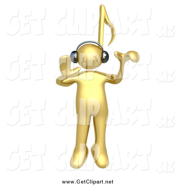 Clip Art of a 3d Gold Person with a Music Note Head