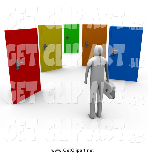 Clip Art of a 3d Gray Person Standing Before Colorful Doors of Opportunities