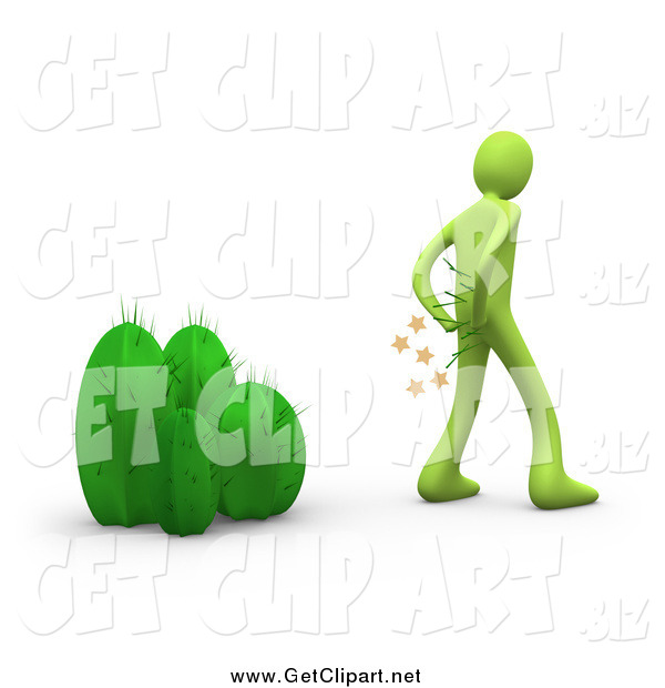 Clip Art of a 3d Green Man Pulling Cactus Needles out of His Butt