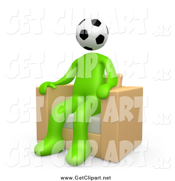 Clip Art of a 3d Green Man with a Soccer Ball Head