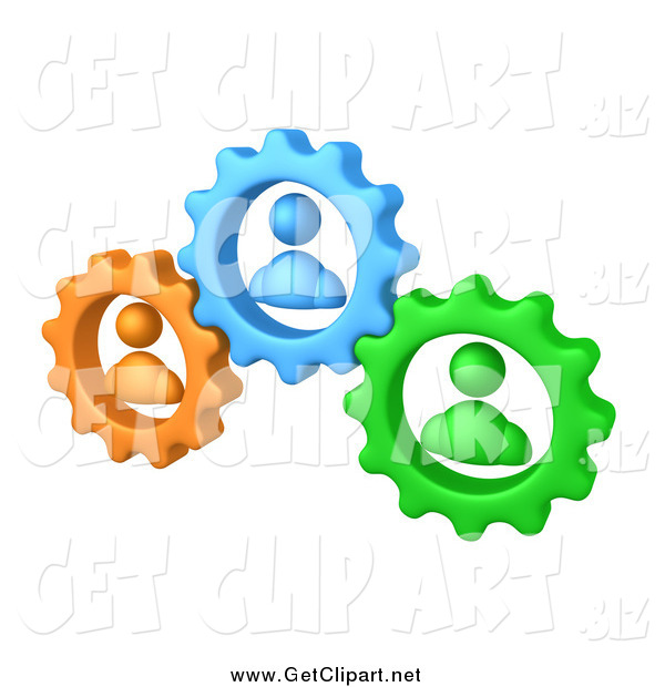 Clip Art of a 3d Green, Orange and Blue People Inside Gears