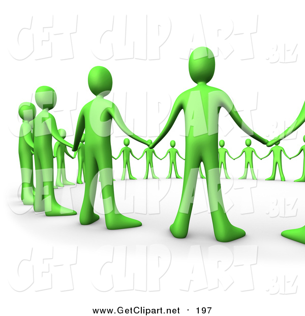 Clip Art of a 3d Green People Hand in Hand, Standing in a Circle of Support