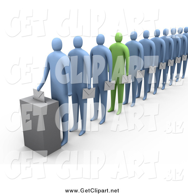 Clip Art of a 3d Green Person Standing out in a Line of Blue People
