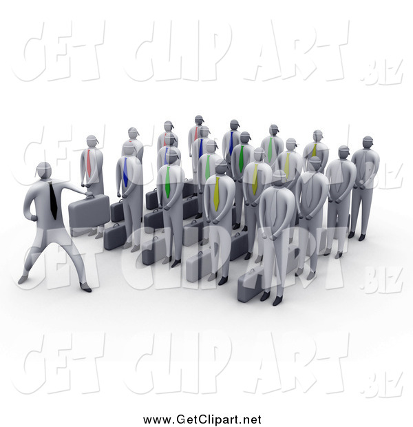 Clip Art of a 3d Group of Businessmen Listening to Their Boss Giving a Lesson