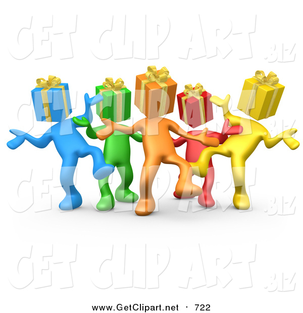 Clip Art of a 3d Group of Colorful People with Present Heads, Dancing at a Party