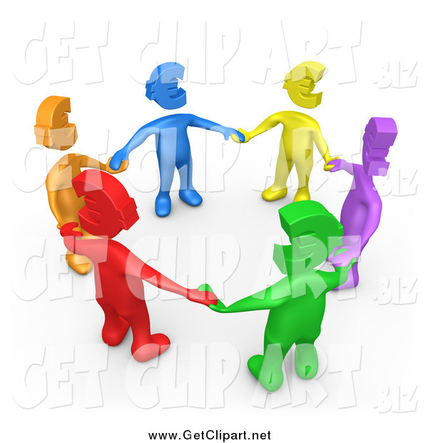 Clip Art of a 3d Group of Diverse Colorful People with Euro Heads, Standing in a Circle and Holding Hands