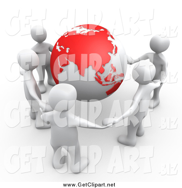 Clip Art of a 3d Group of Five White People Holding Hands Around a Globe with Asia Featured
