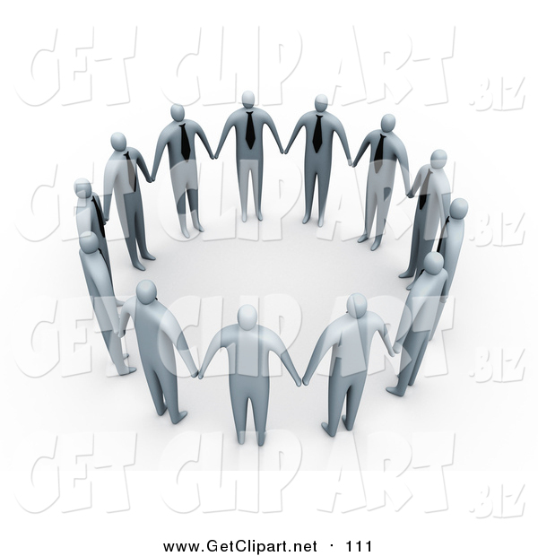 Clip Art of a 3d Group of Gray Businessmen in Ties, Standing Hand in Hand and Forming a Circle