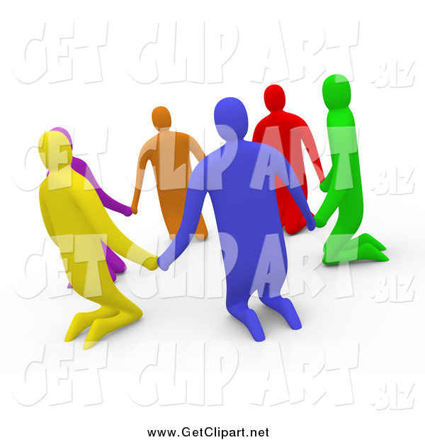 Clip Art of a 3d Group of Kneeling Diverse People Holding Hands in a Circle