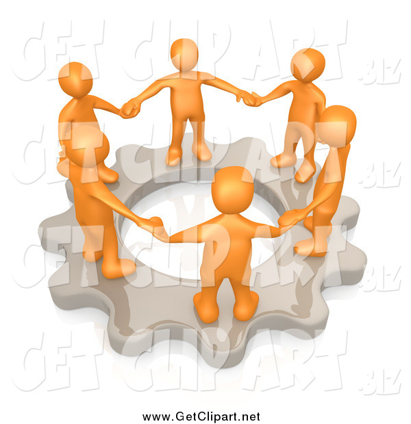 Clip Art of a 3d Group of Orange Business People Holding Hands and Standing in a Circle on a Cog Gear, Symbolizing Teamwork and Support