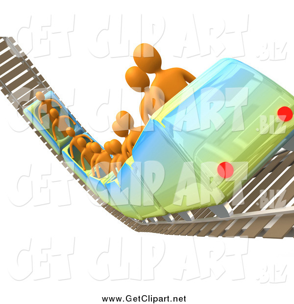 Clip Art of a 3d Group of Orange People Riding a Roller Coaster on Rails in an Amusement Park