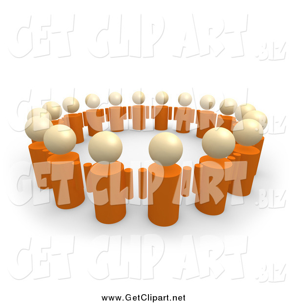 Clip Art of a 3d Group of Orange People Standing in a Circle of Support