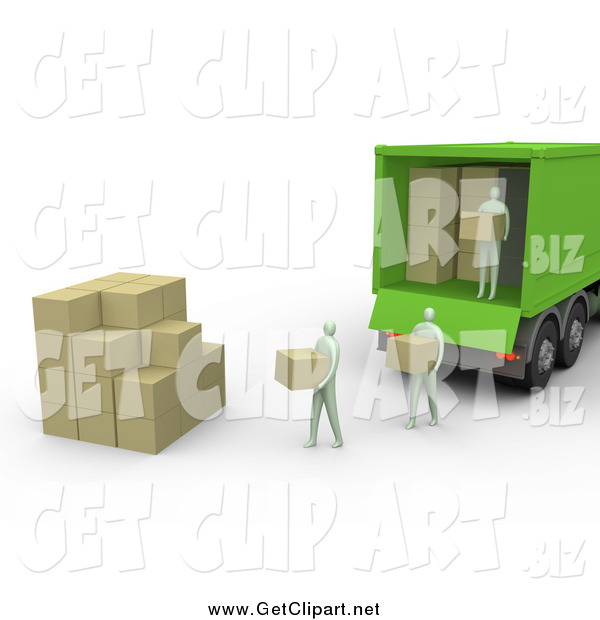 Clip Art of a 3d Group of People Carrying Boxes from a Green Delivery Truck and Stacking Them in a Cube Shape