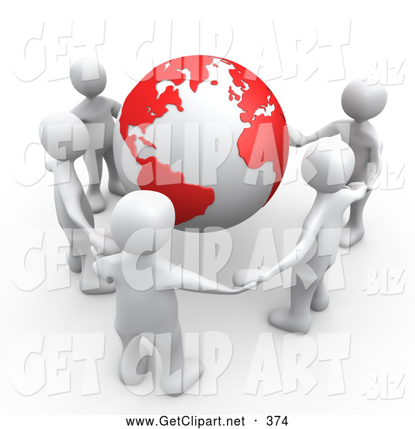 Clip Art of a 3d Group of White People Holding Hands Around a Globe with Red Continents