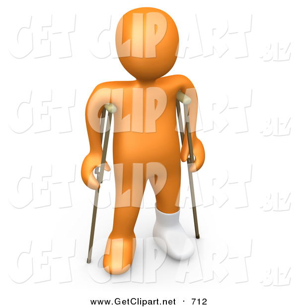 Clip Art of a 3D Injured Orange Person with a Cast on His Broken Foot, Using a Pair of Crutches to Get Around