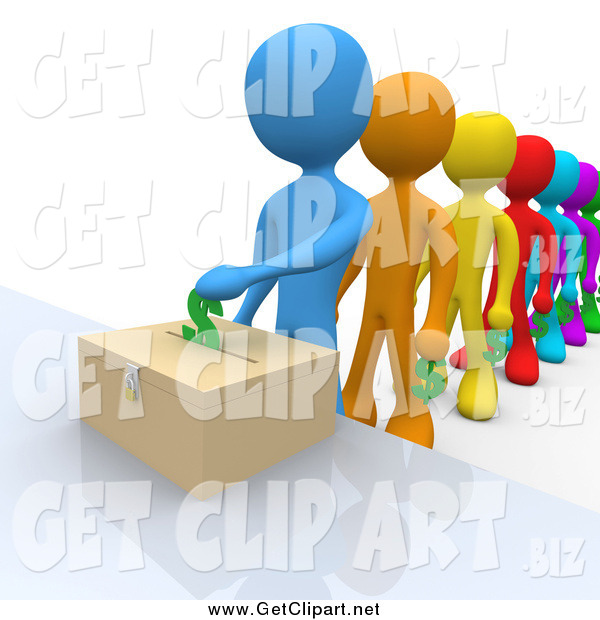 Clip Art of a 3d Line of Colorful People Donating Funds