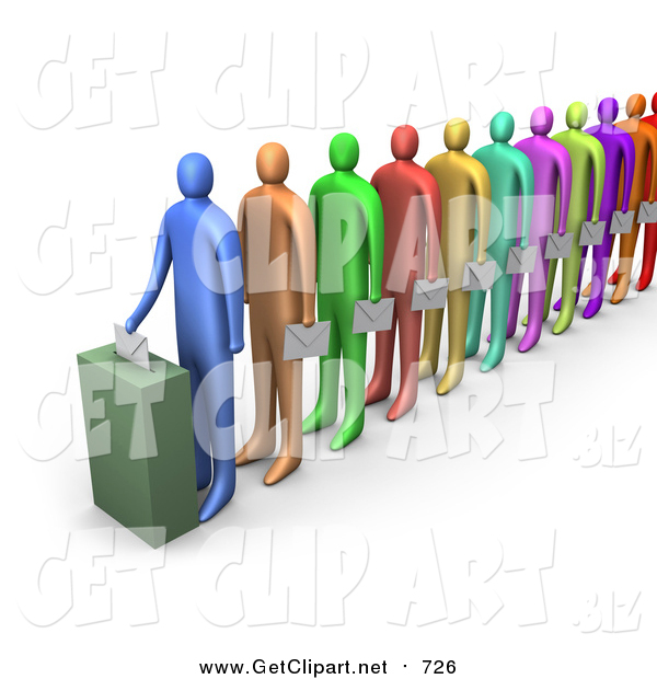 Clip Art of a 3d Line of Diverse Colorful People Holding Ballots and Waiting for Their Turn to Vote