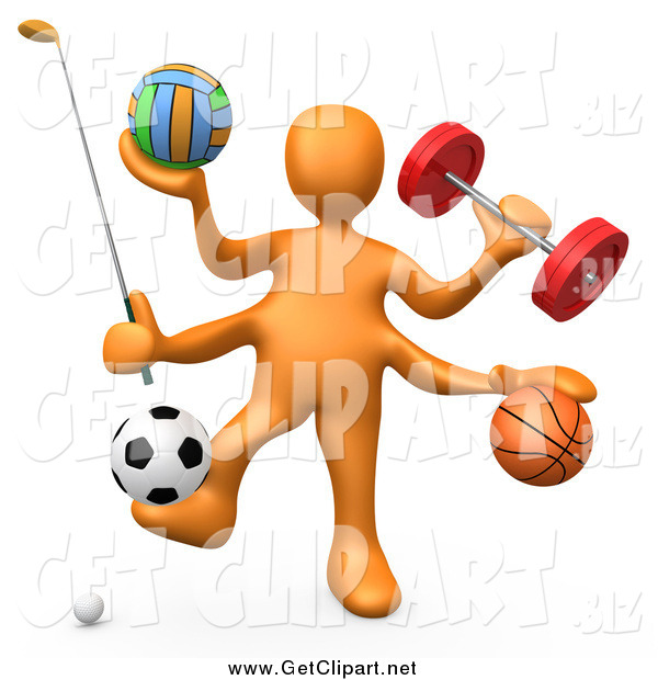 Clip Art of a 3d Orange Athlete with Sports Gear