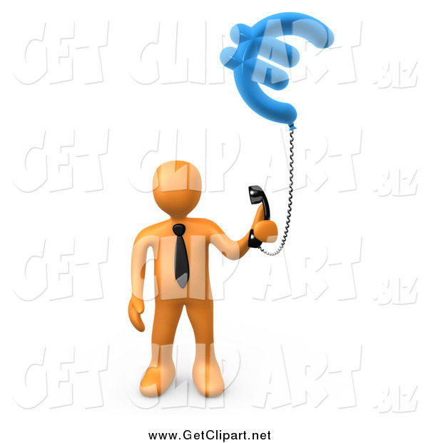 Clip Art of a 3d Orange Business Man Holding a Euro Phone