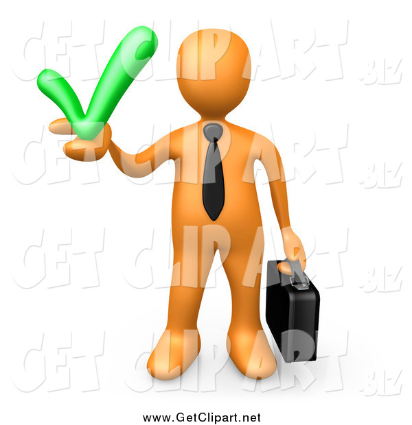 Clip Art of a 3d Orange Business Man Holding a Green Accepted Check Mark