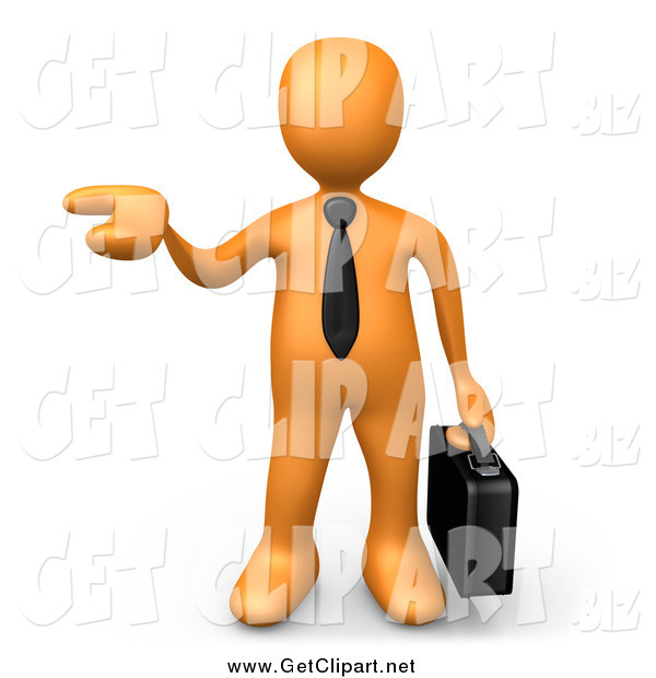 Clip Art of a 3d Orange Business Man Holding His Hand out As if Presenting a Product