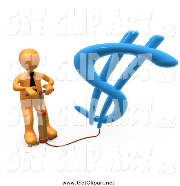 Clip Art of a 3d Orange Business Man Inflating a Dollar Symbol with an Air Pump