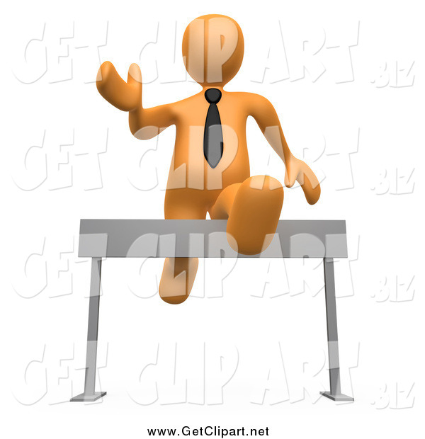 Clip Art of a 3d Orange Business Man Leaping over a Hurdle