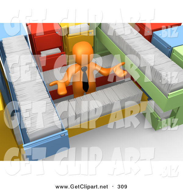 Clip Art of a 3d Orange Business Man Shrugging and Surrounded by Long Filing Cabinet Drawers