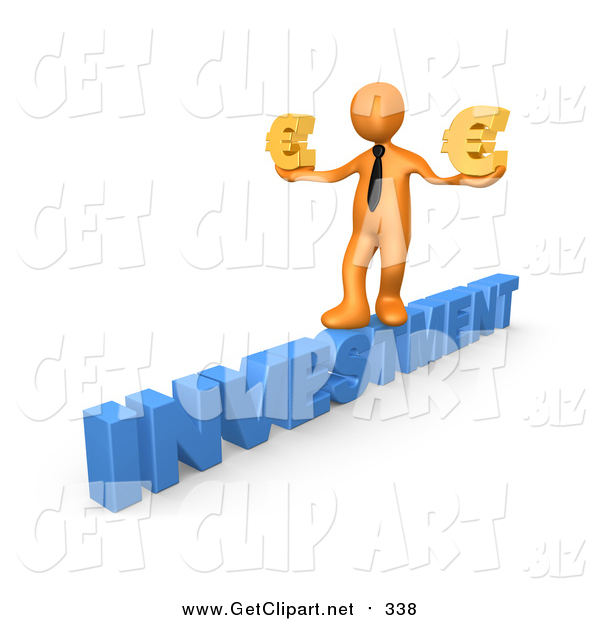 Clip Art of a 3D Orange Business Man Walking Across the Blue Word INVESTMENT and Carrying Two Golden Euro Signs in His Hands