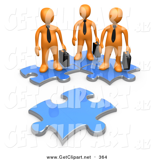 Clip Art of a 3d Orange Business People Standing on Connected Puzzle Pieces, Looking at a New Piece