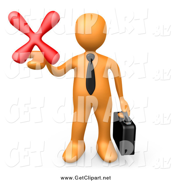 Clip Art of a 3d Orange Businessman Carrying a Briefcase and Holding out a Red X Mark in His Hand, Symbolizing Denial and Failure