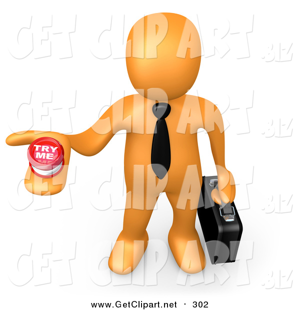 Clip Art of a 3d Orange Businessman Holding out a Try Me Button, Looking for a Job