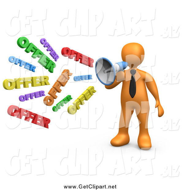 Clip Art of a 3d Orange Businessman Shouting OFFER Through a Megaphone, Symbolizing Job Opportunities and Sales