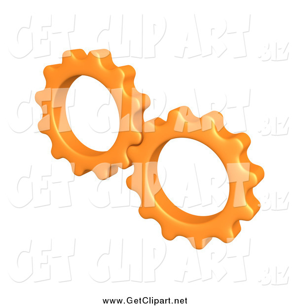Clip Art of a 3d Orange Cogs Turning Gears Together