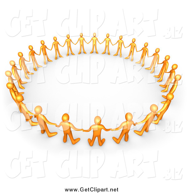 Clip Art of a 3d Orange Group Holding Hands and Standing in a Circle