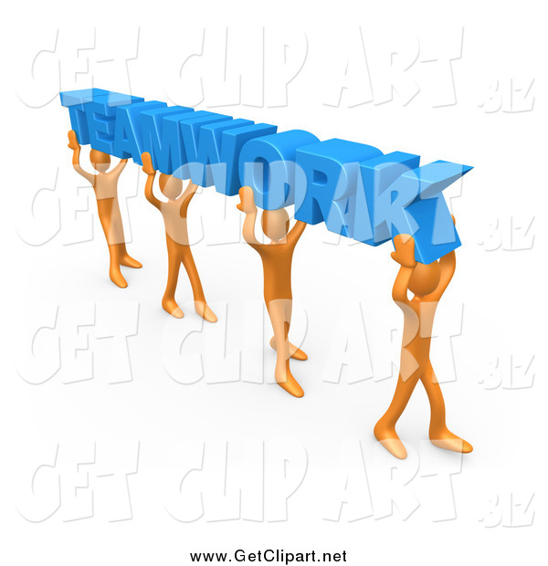 Clip Art of a 3d Orange Group of People Carrying Blue TEAMWORK