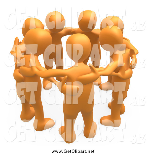 Clip Art of a 3d Orange Group of People in a Huddle